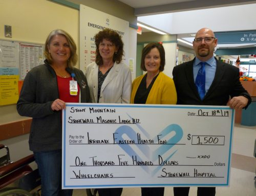 Stony Mountain Stonewall Lodge #12 donates $1,500 for new wheelchairs at Stonewall Hospital!